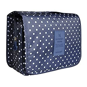 Hanging Travel Makeup Cosmetic Bag - Lady Color Foldable Organizer Travel Kit Makeup Toiletry Bathroom Bag for Women / Men, Shaving Kit with Hanging Hook for vacation (Navy Dot)