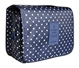 Hanging Travel Makeup Cosmetic Bag - Lady Color Foldable Organizer Travel Kit Makeup Toiletry Bathroom Bag for Women/Men, Shaving Kit with Hanging Hook for vacation (Navy Dot)