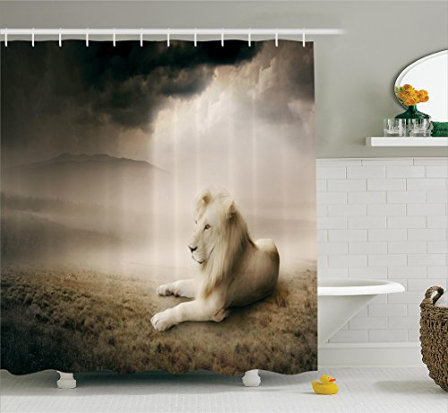 Ambesonne Safari Decor Collection, Lion Setting at Sunset Dramatic Sky Foggy Clouds Desert Sunlights Wilderness Pose Rare Picture, Polyester Fabric Bathroom Shower Curtain Set with Hooks, White