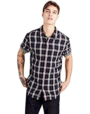 Men's Plaid Roll Up Short Sleeve Shirt