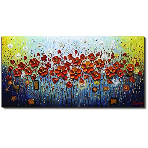 - V-inspire Abstract Paintings, 24x48 Inch 3D Abstract Paintings Modern Textured Red Flower Oil Hand Painting On Canvas Wood Inside Framed Ready to Hang Wall Decoration for Living Room Home Kitchen