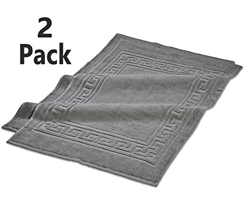 TowelPro Luxury Premium Soft 100% Cotton Highly Absorbent Machine Washable Multi-Purpose, Hotel, Spa, Home, Bath Rug, Set of 2 Bath Mats 20'' X 34'' (Gray) by TowelPro