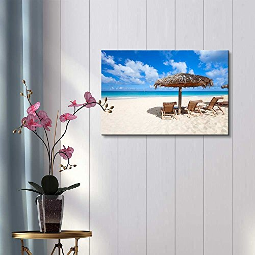 Chairs and Umbrella on a Beautiful Tropical Beach at Anguilla Caribbean Sea Home Deoration Wall Decor