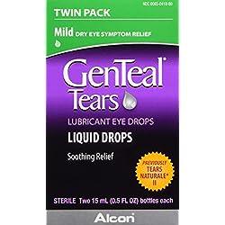 GENTEALTears Lubricant Eye Drops, Mild Liquid Drops, Twin Pack, 15-mL
