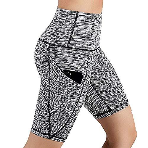 Women Yoga Shorts,High Waist Workout Running Yoga Shorts Tummy Control Side Pockets Leggings Biker Shorts Yamally Gray 2 Side Inseam Pockets
