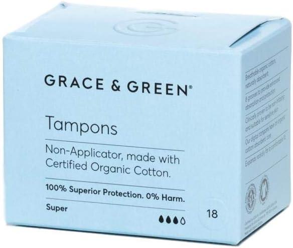 Grace & Green, Tampones orgánicos sin aplicador de primera calidad ...