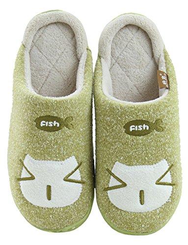 Ciabatte Da Donna Di Gatto Blubi In Cotone Comfort Pantofole Divertenti Verde
