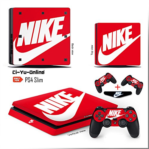 Price comparison product image Ci-Yu-Online VINYL SKIN [PS4 Slim] Nike Logo Shoe Box Red Light Bar Whole Body VINYL SKIN STICKER DECAL COVER for PS4 Slim Playstation 4 Slim System Console and Controllers
