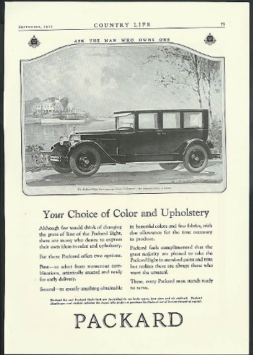 (Your Choice of Color & Upholstery Packard Eight 7-Passenger Sedan ad 1925)