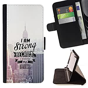 DEVIL CASE - FOR Samsung Galaxy S6 - I Am Strong Because I Know - Style PU Leather Case Wallet Flip Stand Flap Closure Cover