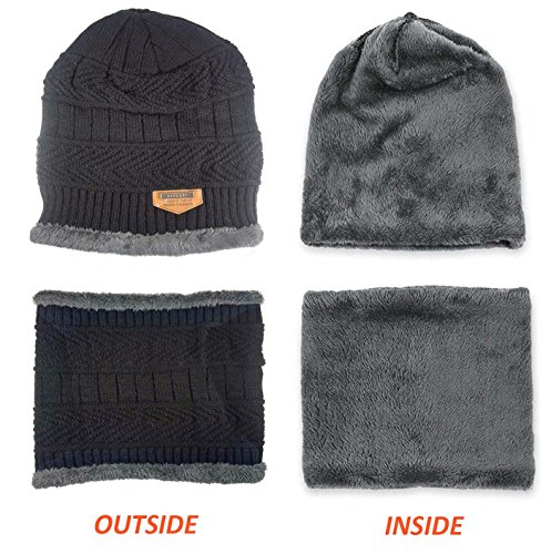 8b542fcd49c Winter Hat Scarf Gloves Slouchy Beanie Snow Knit Skull Cap Touch Screen  Mittens Circle Scarves for