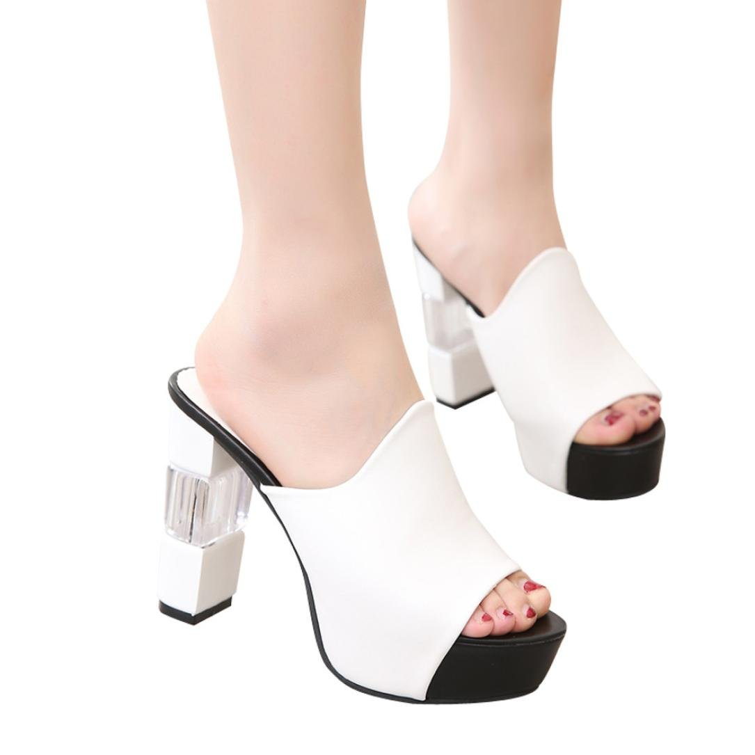 AIMTOPPY HOT Sale Women's Fashion Wedge Thick Bottom Slippers Open Toe Summer High Heel Sandals (US:7.5, White)