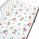 Shinybaby Cotton Crib Sheet,Gender Neutral Leaves and Fox Baby or Toddler Fitted Sheet,Fits Standard Mattress
