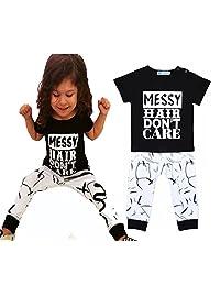 Children Black Letter MESSY Short Sleeve T-shirt With Harem Pants
