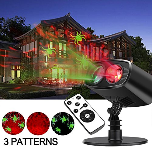 Gemtune Halloween Lighting Projector Decoration with Spider Patterns and Remote Control, Indoor and Outdoor Waterproof Projection Light for Christmas Halloween Holiday Landscape and Ceiling (Halloween Happy Hour Dc)