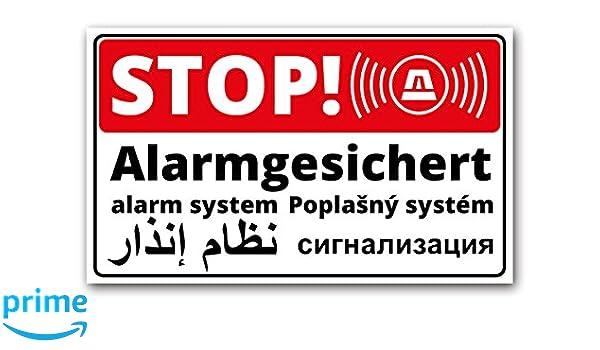 Cartel de Stop protegido por alarma - 5 idiomas | Inglés ...