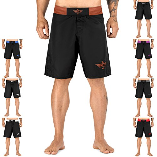 Elite Sports New Item Black Jack Series Fight Shorts - UFC, MMA, BJJ, Muay Thai, WOD, No-Gi, Kickboxing, Boxing Shorts (Brown, XL)