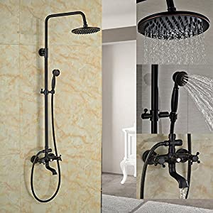"Zovajonia Luxury Oil Rubbed Bronze 8"" Rainfall Shower Tub Tap with Handheld Sprayer"