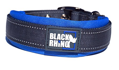 Black Rhino - The Comfort Collar Ultra Soft Neoprene Padded Dog Collar for All Breeds - Heavy Duty Adjustable Reflective Weatherproof (Large, Blue/Grey) ()