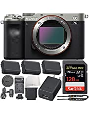 Sony Alpha a7C Mirrorless Digital Camera (Body Only, Silver) with Essential Accessory Bundle - Includes: SD Extreme PRO 128GB Memory Card, 2X Seller Supplied Replacement FZ100 Batteries & More