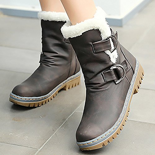 Odema Womens Fully Fur Lined Anti-Slip Ankle Snow Boots Brown 9uXyLsyRa