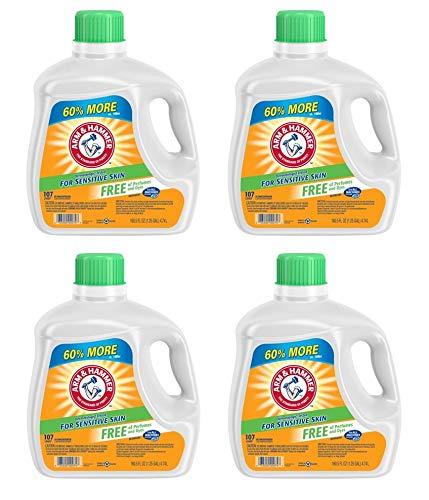 Arm & Hammer Liquid Laundry Detergent for Sensitive Skin, 107 loads, 160.5 fl oz (Pack of 4)