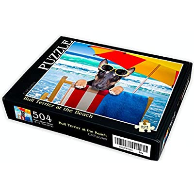 CVPuzzles Bull Terrier at The Beach 504 Piece Jigsaw Puzzle 16