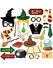 27PCS Magical Wizard Party Photo Booth Props,Wizard Castle Party Photo Booth Props for Kids Birthday Wizard School Party Supplies