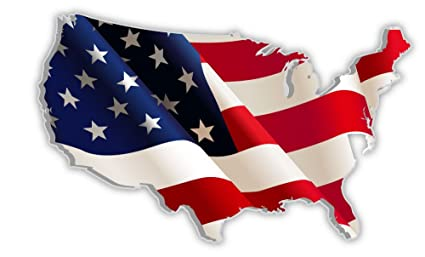 Amazon.com : USA United States of America US map flag sticker decal ...