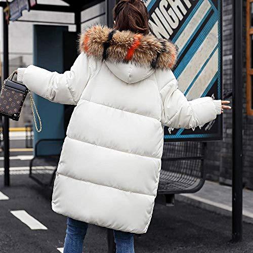 Chaqueta Al Libre Delgada Blanco Zhrui Lammy Para Grueso Cálida Invierno Damas Moda De Aire Parka Cuello Manga Xl color Sólido Tamaño Y Mujer 1 Larga Pelo Abrigo vngHvAqz