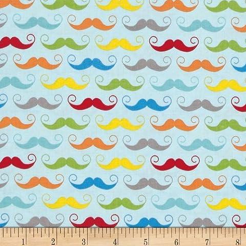 Riley Blake Geekly Chic Mustache Aqua Fabric By The Yard (Riley Blake Mustache Fabric)