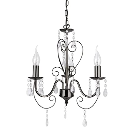 MiniSun - Preciosa lámpara de techo de estilo araña con 3 luces, vintage en cromo negro
