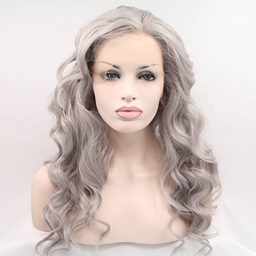 Heat Resistant Fiber Hair granny gray Body Wave Hair Wigs Synthetic Lace Front Wig For Women Drag Queen Hair - Granny Lace