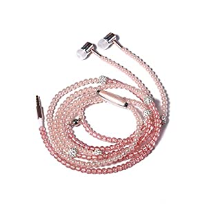Fashionable Jewelry pearl Necklace Stereo Earphones with Microphone Beads 3.5mm In-ear Headphone Connect to Ipod, Iphone, Droid, Blackberry, Mp3 Player and All 3.5mm Audio Devices – Pink