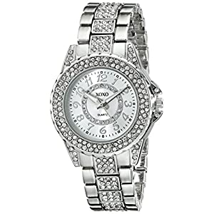 XOXO Women's Analog Watch with Silver-Tone Case, Rhinestone Bezel/Dial/Band, Silver-Tone Sunray Dial - Official XOXO Woman's Watch, Jewelry-Clasp Closure - Model: XO5746
