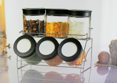 Glass Canister Set or Spice Rack Jar Set Chrome