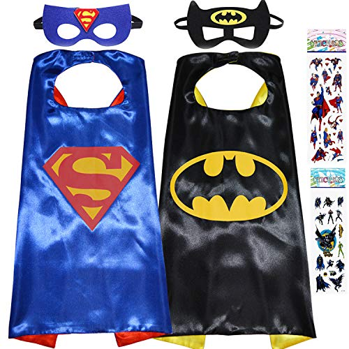 Superhero Dress Up Costumes for Kids, 2 Satin Capes and 2 Felt Masks - Superhero Party Supplies (Boys) Black -
