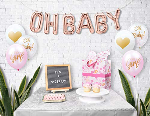 Baby Girl Baby Shower Decorations: Rose Gold Oh Baby Foil Balloon Letters & 15 Latex Baby Shower Balloons - 5 Pink Its a Girl Balloons, 5 Clear Oh Baby Balloons with Confetti & 5 White Heart Balloons