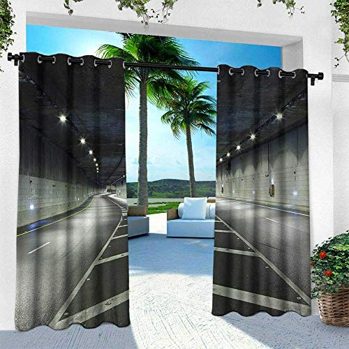 Hengshu Landscape, Outdoor Curtain for Patio,Outdoor Patio Curtains,Interior Urban Tunnel Traffic Empty Road Highway Citylights Photo, W120 x L84 Inch, Navy Dark Blue and White