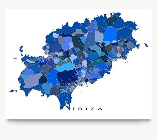 Ibiza Map Art Print, Spain, Island