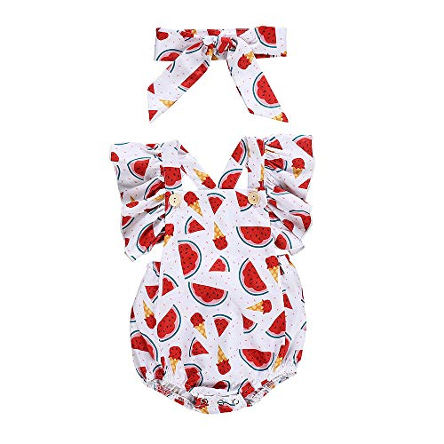WOCACHI Toddler Baby Girls Clothes, Newborn Infant Kids Baby Girl Watermelon Print Romper Jumpsuit+Headband Outfits Back to School Easter Egg Costume Parade Bunny Lily Eggs Roll Basket Mother's Day ()