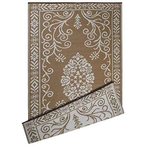 - DII Contemporary Indoor/Outdoor Lightweight Reversible Fade Resistant Area Rug, Great For Patio, Deck, Backyard, Picnic, Beach, Camping, & BBQ, 4 x 6', Taupe Garden Floral