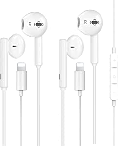2 Pack-Apple Earbuds with Lightning Connector[Apple MFi Certified](Built-in Microphone & Volume Control) Headphones Compatible with iPhone 12/SE/11/XR/XS/X/7/7 Plus/8/8Plus Support All iOS System