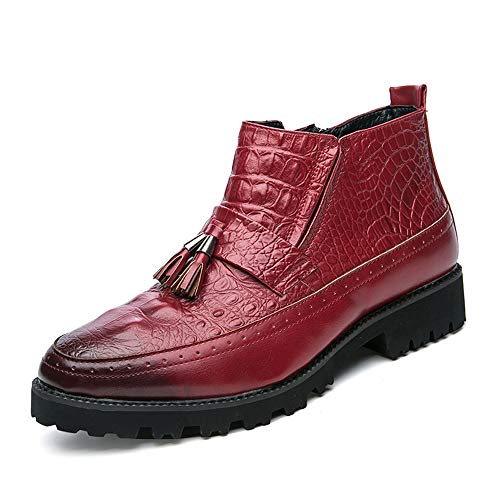 MUMUWU Men's Fashion Ankle Work Boot Casual Personality Crocodile Classic Tassel High Top Boot Winter Boots (Color : Red, Size : 6.5 D(M) US) ()