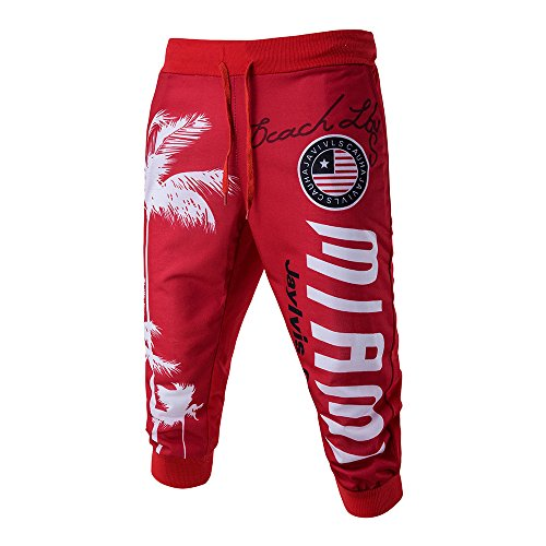 Drawstring Elastic Waist Printing Loose Sports Pants(Red,34) ()