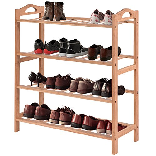 COSTWAY 4-Tier Bamboo Shoe Rack Multifunctional Utility Free Standing Eco-Friendly Wood Shoe Storage Organizer Shelf Holder Plant Flower Display Stand Home Entryway Hallway Bathroom Furniture ()