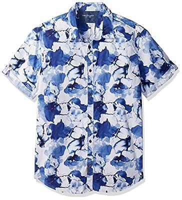 Calvin Klein Jeans Men's Short Sleeve Water Floral Button Down Shirt