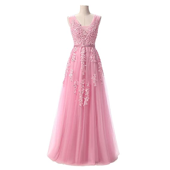 nymph Womens V-neck A-line Open Back Long Prom Party Dress Pink 8