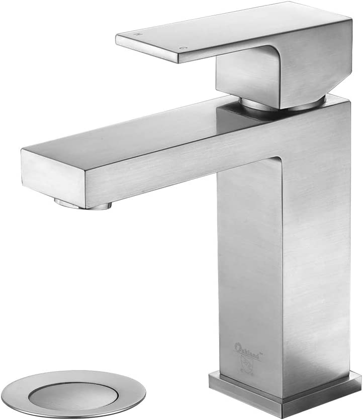 Brass Bathroom Faucet Brushed Nickel Oakland Modern Bronze Bathroom Sink Faucet Single Handle With Drain Assembly Supply Line Lead Free Resist Spot Rust Ksb1112