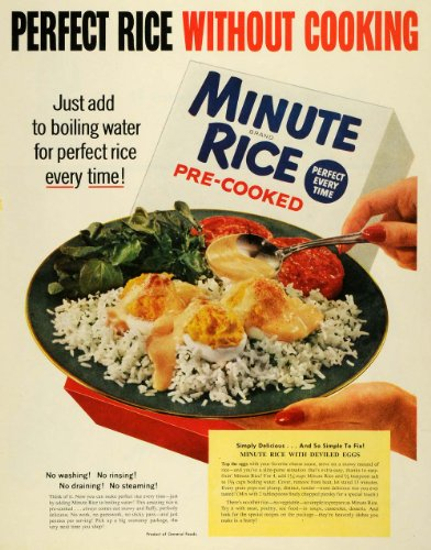 1954 Ad General Foods Co Minute Rice Pre-Cooked Meal Deviled Eggs Recipe - Original Print Ad (Deviled Eggs Unique)